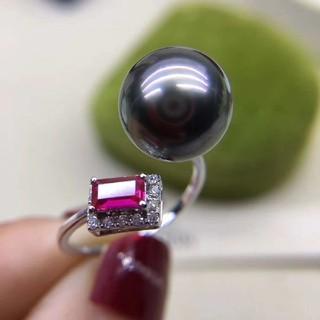 【高級】天然タヒチ黒蝶真珠 ルビーリングk18(リング(指輪))