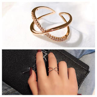 【ラッピング袋付】 レディース 指輪 クロスライン リング ピンクゴールド 新品(リング(指輪))