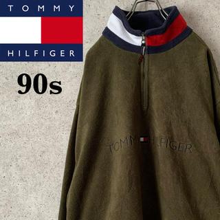 トミーヒルフィガー(TOMMY HILFIGER)の【超激レア】トミーフィルフィガー♪フロントビッグロゴ入りハーフジップフリース(スウェット)