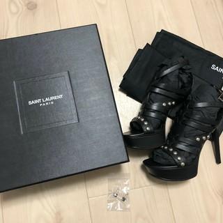 Saint Laurent - サンローラン  サンダル ピンヒール レザー ブラック 34 1/2 正規品
