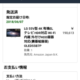 エルジーエレクトロニクス(LG Electronics)のLG 55V型 有機EL テレビ OLED55B7P 4K HDR対応(テレビ)