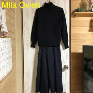 Mila Owen - Mila Owen タートルニットドッキングオールインワン ネイビー 0サイズ