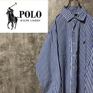 POLO RALPH LAUREN - 【激レア】ラルフローレン☆ワンポイント刺繍ロゴロンドンストライプシャツ 90s