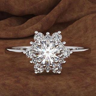 HARRY WINSTON - 【高品質】レディース フラワーモチーフ 最高級人工ダイヤモンド リング