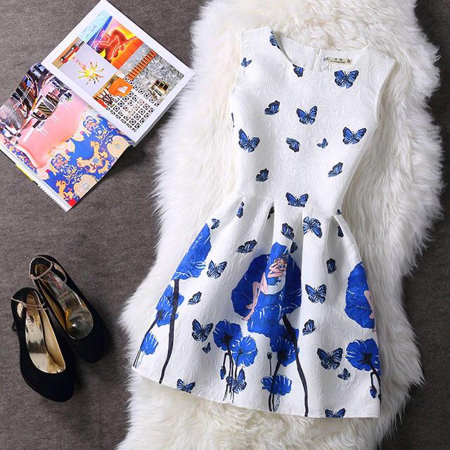 EATME(イートミー)のフラワー蝶々デザインワンピース レディースのワンピース(ミニワンピース)の商品写真
