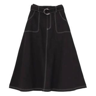 jouetie - jouetie カラーステッチミモレススカート ブラック
