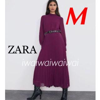 ZARA - 新品 完売品 ZARA M ベルト付き プリーツ ロングワンピース