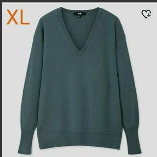 UNIQLO - ユニクロ リラックスフィットVネックセーター グリーン XL
