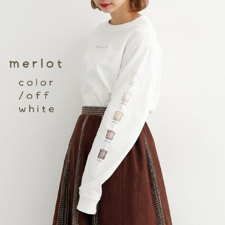 merlot - メルロー*♪パン柄ロンT オフホワイト
