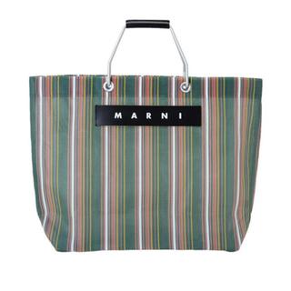 マルニ(Marni)のMARNI FLOWER CAFE ストライプバッグ グリーン美品(ハンドバッグ)
