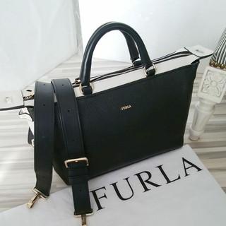Furla - 美品 フルラ FURLA ショルダーバッグ 2way ボストン バイカラー 黒