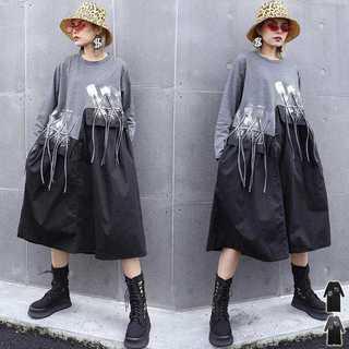 ワンピースひざ丈レディース夏服コーデ黒フォーマル重ね長袖zr8067a(ひざ丈ワンピース)