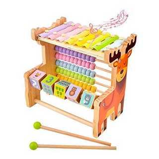 オレンジビーズコースター 木製おもちゃ 多機能 モンテッソーリ知育 キューブ 積