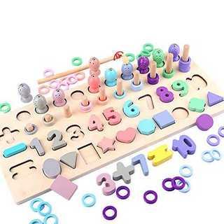 木製パズル 5in1 知育玩具 数字認知 色の認識 形の認知 立体パズル 釣りお