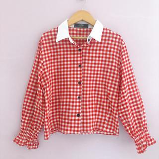 heather - 美品 ギンガムシャツ 袖フリル 韓国購入 オルチャン
