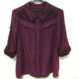 axes femme - axes femme (アクシーズファム) ブラウス 七分袖 Mサイズ 赤紫色