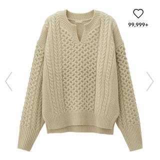 GU - GU ケーブルキーネックセーター(長袖)