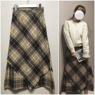 裾フリンジ ブラウン系チェックスカート 古着(ロングスカート)