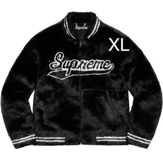 Supreme - Faux Fur Varsity Jacket  black XL