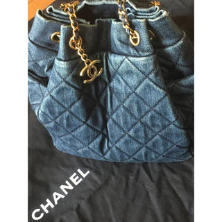 CHANEL - 正規シャネル インディゴデニム巾着マトラッセ バッグ