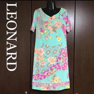 レオナール(LEONARD)の【美品】LEONARD 花柄 ワンピース(ひざ丈ワンピース)