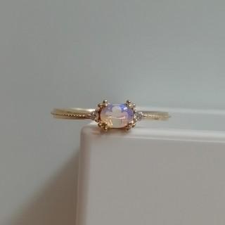 アガット(agete)の美品 アガット K18 YG オパール ダイヤ リング(リング(指輪))