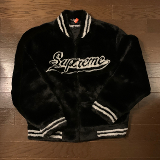 Supreme - Supreme Faux Fur Varsity Jacket Black L