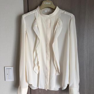 クロエ(Chloe)のクロエ ミルク色の長袖シルクブラウス 36(シャツ/ブラウス(長袖/七分))