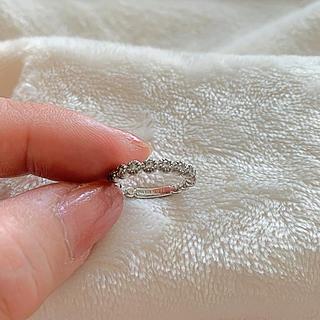 美品★ピンキーリング ホワイトゴールド ダイヤモンド0.16  5号(リング(指輪))