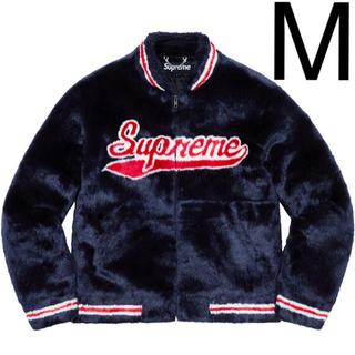 Supreme - Mサイズ Supreme Faux Fur Varsity Jacket 紺色