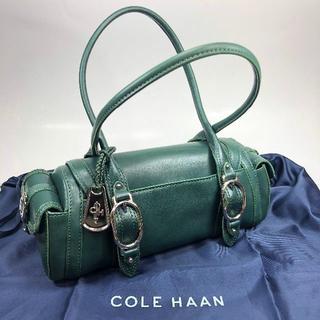 コールハーン(Cole Haan)の【美品】コールハーン レザー ハンドバッグ グリーン 保存袋付(ハンドバッグ)