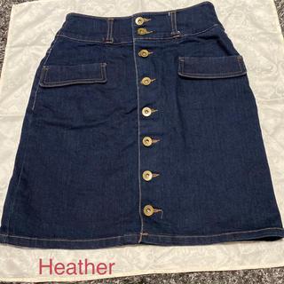 ヘザー(heather)のHeather デニムスカート(ひざ丈スカート)