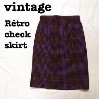 Lochie - 美品【 vintage 】 レトロスカート 千鳥格子柄 グレンチェックスカート