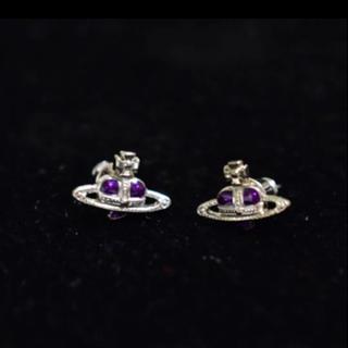 Vivienne Westwood - 美品 ヴィヴィアン ピアス ディアマンテ 紫 シルバー 箱付き