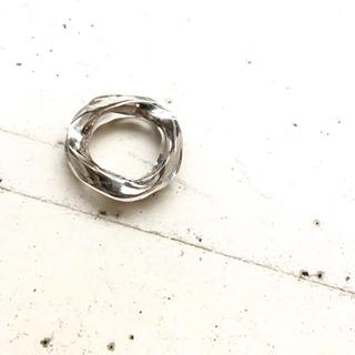 りぃめろでぃさま専用☆シルバー×クリア リング ボリューム  ピンキー 約4号(リング(指輪))