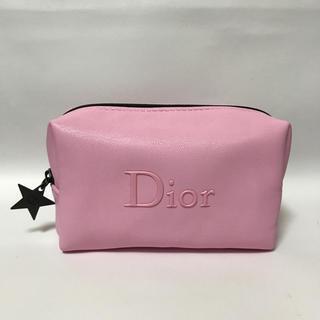 Dior - 未使用 ディオール ソフトレザー調 星チャーム コスメポーチ ピンク DIOR