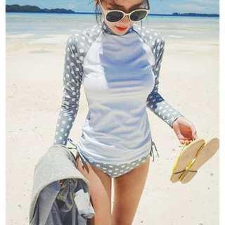 ★新品 女性 水着 体型カバー ラッシュガード 長袖 グレー ドット柄 L(水着)