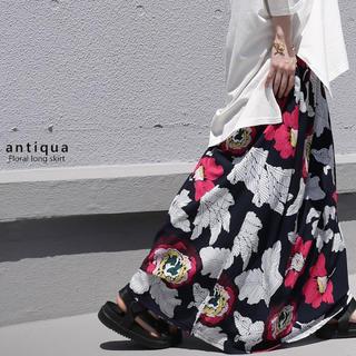 antiqua - アンティカ antiqua レトロ花柄 ロング  スカート