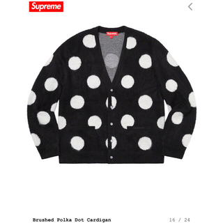 Supreme - L Supreme Brushed Polka Dot Cardigan 黒