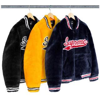 シュプリーム(Supreme)のSupreme Faux Fur Varsity Jacket Mサイズ 黒(毛皮/ファーコート)