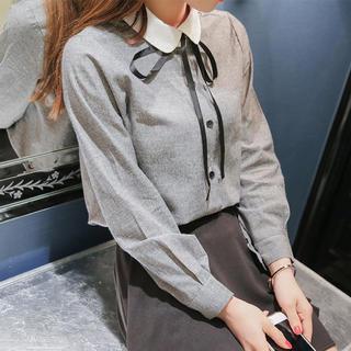 EATME - 丸襟リボンタイシャツ(ブラック)