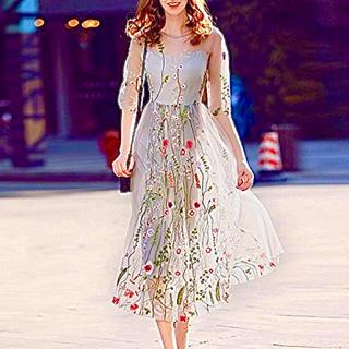 ロング 刺繍 チュール ワンピース フォーマル ドレス(ロングワンピース/マキシワンピース)