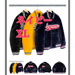 Supreme - ★紺XL★Supreme Faux Fur Varsity Jacket ファー