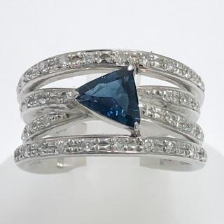 トリリアント インディゴトルマリン リング ダイヤモンド pt900 プラチナ(リング(指輪))