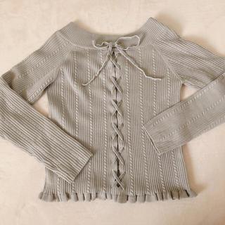 アンティローザ(Auntie Rosa)の編み上げVネックニット(ニット/セーター)