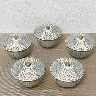 深川製磁 梅菊地紋 汲出碗揃 蓋付 湯呑み 5客 新品未使用品