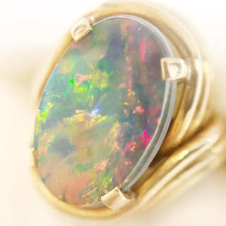 K18 ブラックオパール タブレット リング 指輪 18611256(リング(指輪))