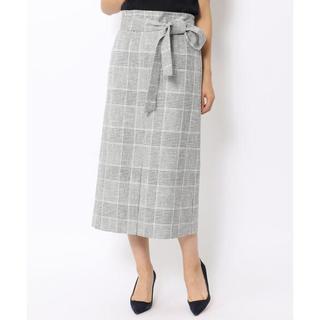 トゥモローランド(TOMORROWLAND)のBallsey グレンチェック ベルテッドIラインスカート(ひざ丈スカート)