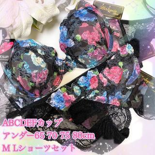 E80L♡刺繍レースブラック♪ブラ&ショーツ&Tバックset(ブラ&ショーツセット)