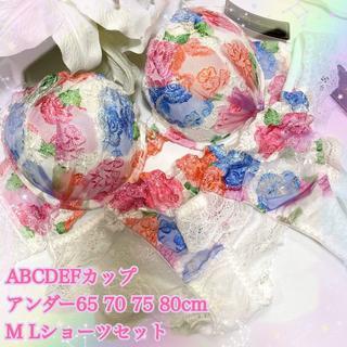E80L♡刺繍レースホワイト♪ブラ&ショーツ&Tバックset(ブラ&ショーツセット)